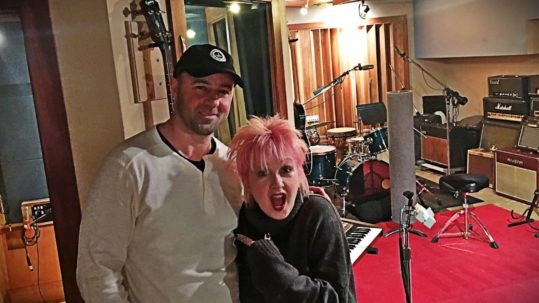 Music Producer & Threshold Studios Owner James Walsh & Cyndi Lauper at Threshold Recording Studios NYC