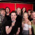 Cast of Something Rotten at Threshold Recording Studios NYC